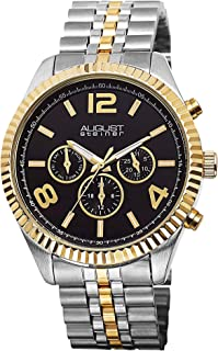 August Steiner Men's Swiss Coin Edge Bezel Watch - Black Dial with Day of Week, Date, and 24 Hour Subdial on Tri Tone Yell...