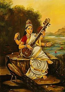 *Goddess Saraswati with Sitar & Peacock* (1896)- A Famous Painting by Raja Ravi Varma, Wall Décor Frame (Acrylic Spray Coa...