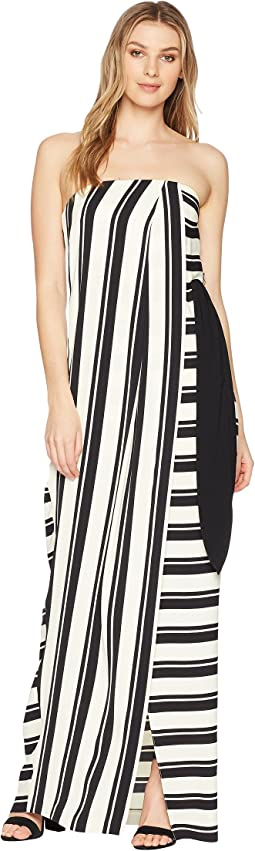 Strapless Striped Tie Waist Detail Gown