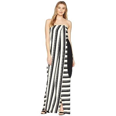 Halston Heritage Strapless Striped Tie Waist Detail Gown (Black/Cream Stripe) Women