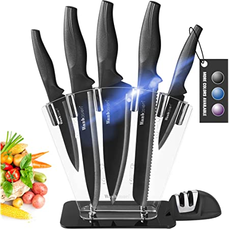 Wanbasion Noir Bloc de Couteaux de Cuisine avec Support Acrylique, Set de Couteaux Cuisine en Acier Inoxydable, Couteau Cuisine Professionnelle Chef 7pcs