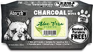 Absorb Plus Charcoal Pet Wipes 80 Sheets, Aloe Vera