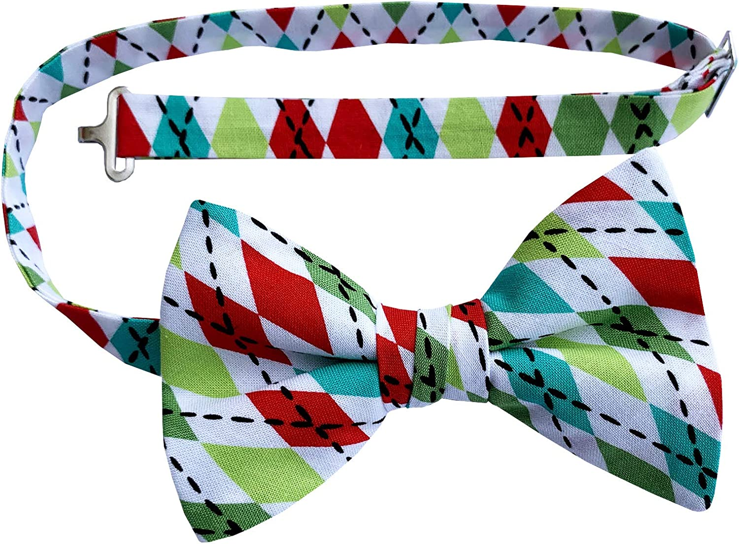 Holiday Bow Ties Mens Argyle Pre-tied Bow Tie Handmade in Christmas Colors