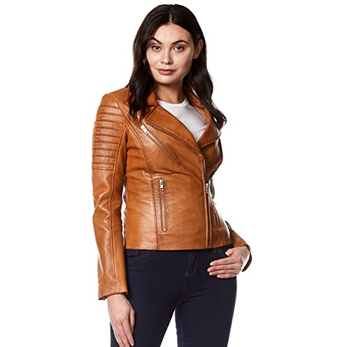 96d8a9fe2f9 Ladies Brown Leather Jacket: Amazon.co.uk