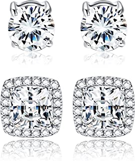 Adramata 925 Sterling Silver Round Square Cubic Zirconia Halo Stud Earrings for Women Clear CZ Round & Square Stud Earrings Set Ear Jewelry