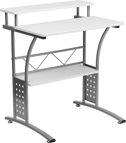 闪光家具克利夫顿白色电脑桌