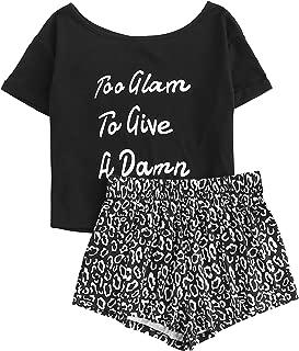 Women's Cute Cartoon Print Tee and Shorts Pajama Set