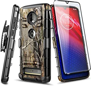 Moto Z4 Case,  Motorola Moto Z4 Play Case with Tempered Glass Screen Protector (Full Coverage),  NageBee Belt Clip Holster Heavy Duty Armor Shockproof Kickstand Dual Layer Combo Rugged Case -Camo