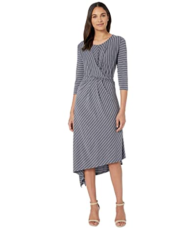 B Collection by Bobeau Clara 3/4 Sleeve Wrap Front Dress (Parisisan Night Stripe) Women