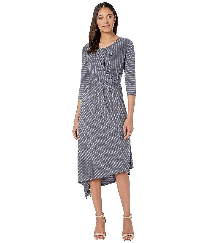 B Collection by Bobeau Clara 3/4 Sleeve Wrap Front Dress (Parisisan Night Stripe) Women