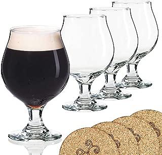 Libbey Beer Glass Belgian Style Stemmed Tulip - 16 oz Lambic Beer Glasses - set of 4 w/coasters
