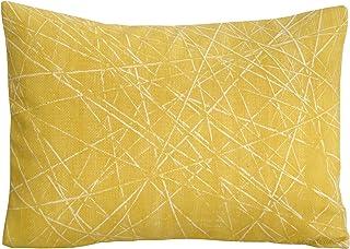 Cojín amarillo 30 x 40 cm, funda de cojín estampado geométrico de BeccaTextile.