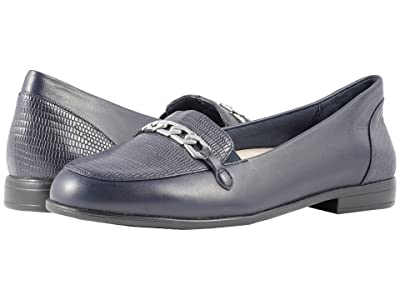 Trotters Anastasia (Navy Leather Lizard/Stamp) Women