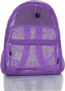 Mesh Backpack With Padded Shoulder Straps Transparent See Through School & Travel Bag - (Lavanda Purple)