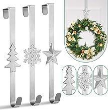 Whaline 3Pccs Christmas Wreath Hanger Over The Door Metal Wreath Hook Star Christmas Tree Snowflake Hook for Xmas Party De...
