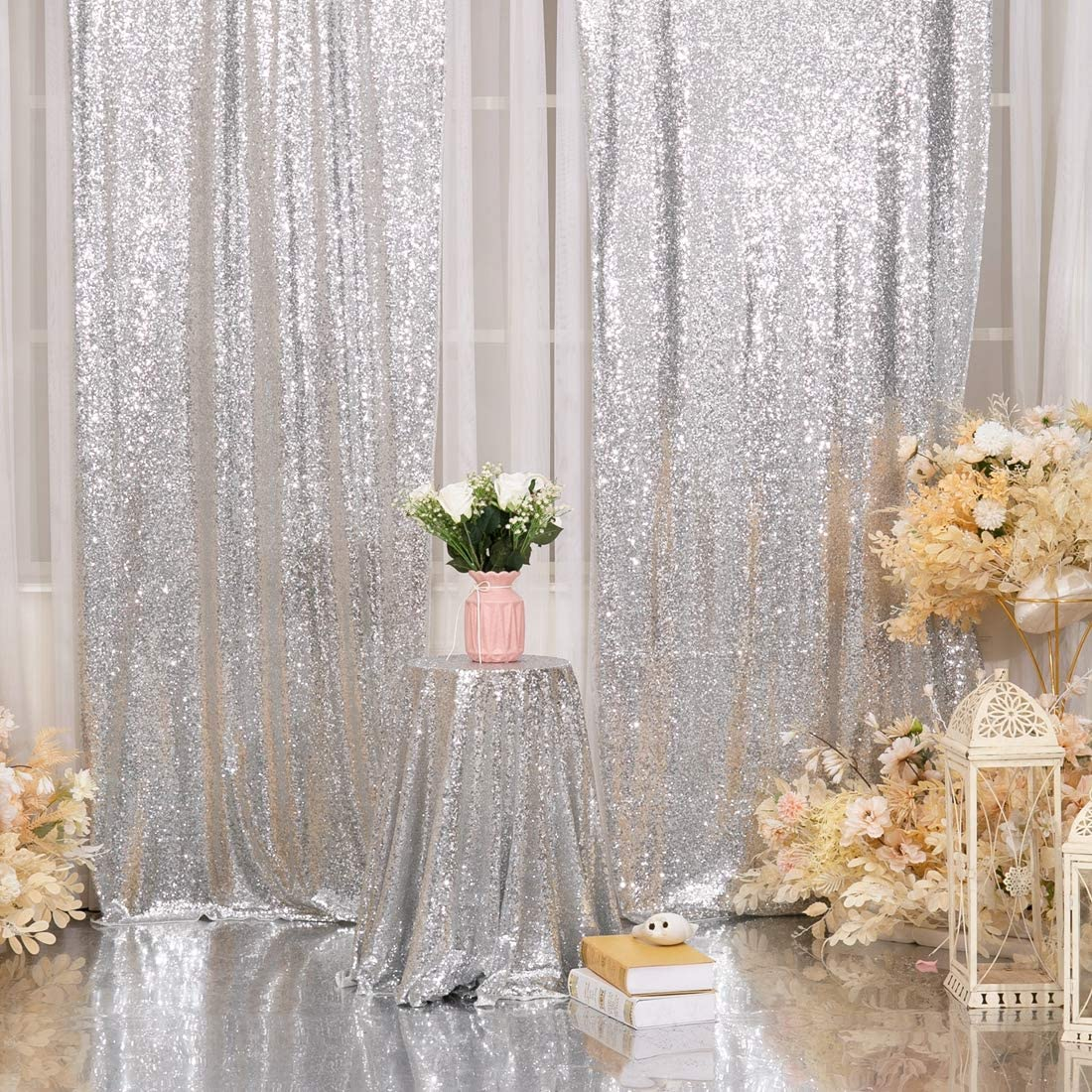 Juya Delight 4ft x 6ft Light Gold Sequin Backdrop Curtain for Party Wedding Photography