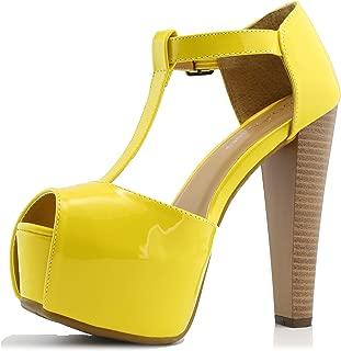 DailyShoes Women's Peep Toe Platform Sandal Pumps Open Toe Ankle Buckle T-Strap Extreme Evening Party Dress Casual Shoes