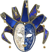 Full Face Venetian Jester Mask Masquerade Blue White Bell Joker Wall Decorative Art Collection