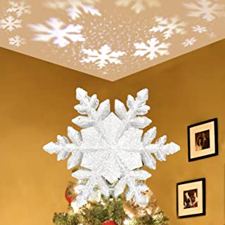 Christmas Tree Topper Star Lighted,3D Glitter Sliver Snow Tree Toppers Snowflake Projector Lights Lighting for Decoration