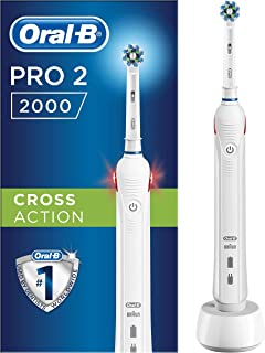Oral-B Pro 2 2000N CrossAction Electric Rechargeable Toothbrush, 1 Handle, 2 Modes: Daily Clean and Sensitive, Gum Pressur...