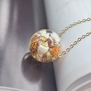 Conch Ocean Beach Resin Transparent 18k Gold Plated Chain Long Necklace