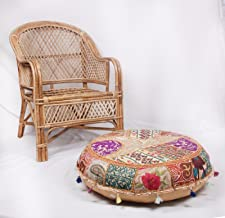 Sophia Art Beautiful Decorative Ruond Ottoman Indian Patchwork Pouffe,Indian Traditional Home Decorative Handmade Cotton Ottoman Patchwork Foot Stool, Embroidered Chair Cover Vintage Pouf 32