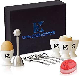 K&J's Egg Cups & Cracker Set with Beautiful Storage Box – Set Includes 4 Ceramic Egg Holders + 4 SS Spoons + 1 Egg Topper ...