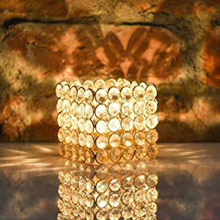 CraftVatika Golden Crystal Candle Holders | Tea Light Holders Centerpiece Candle Shade for Wedding Coffee Table Holiday Pa...