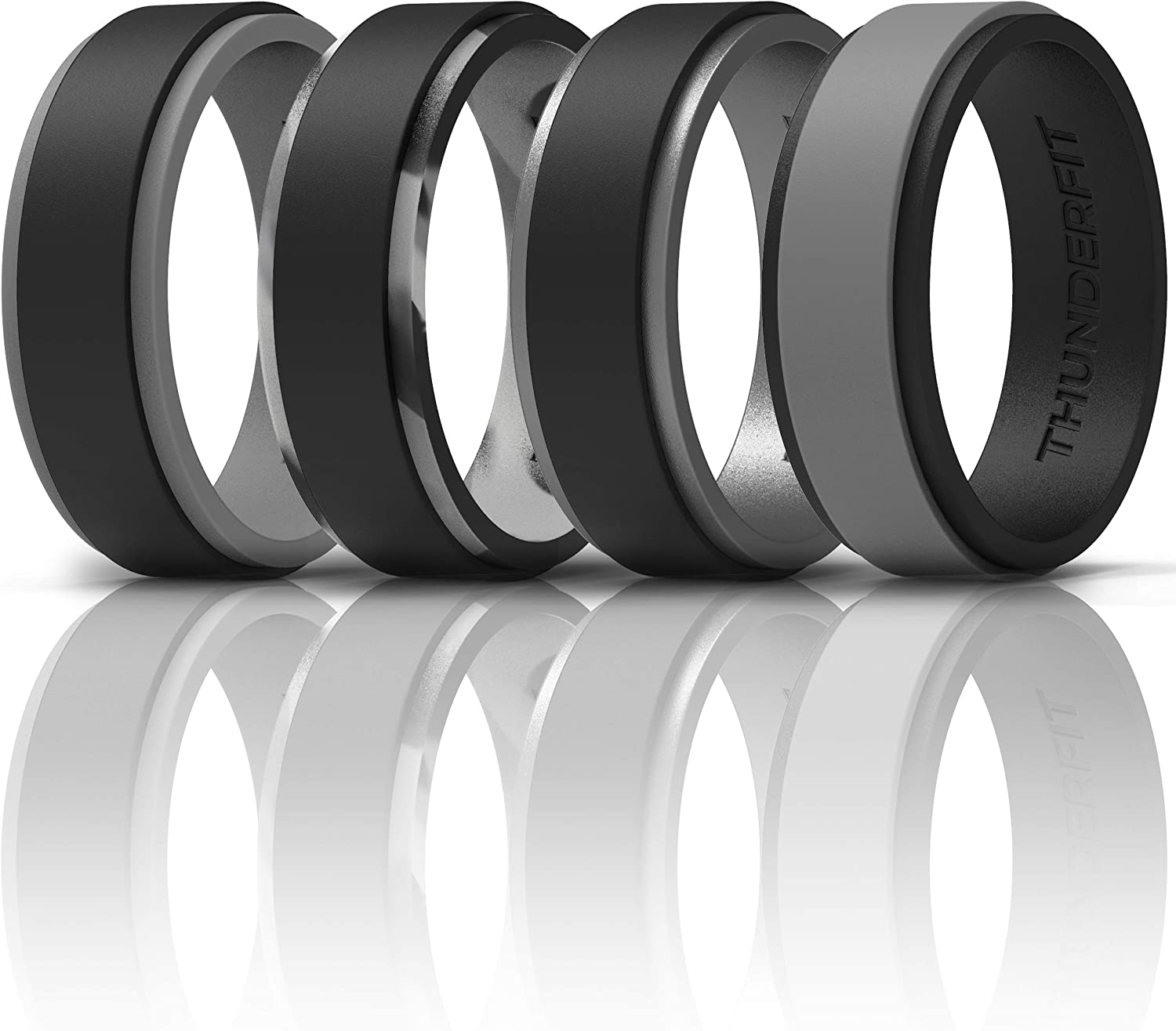 Rare ThunderFit Silicone Wedding Rings for Men - Layers low-pricing 2 Edge Step