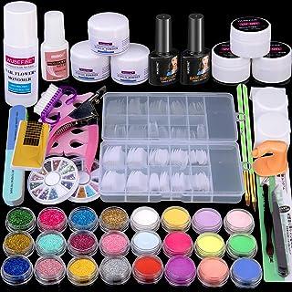 WuBeFine Acrylic Nail Kit, Acrylic Powder Liquid Brush Glitter Clipper File Tips Gel Nail..