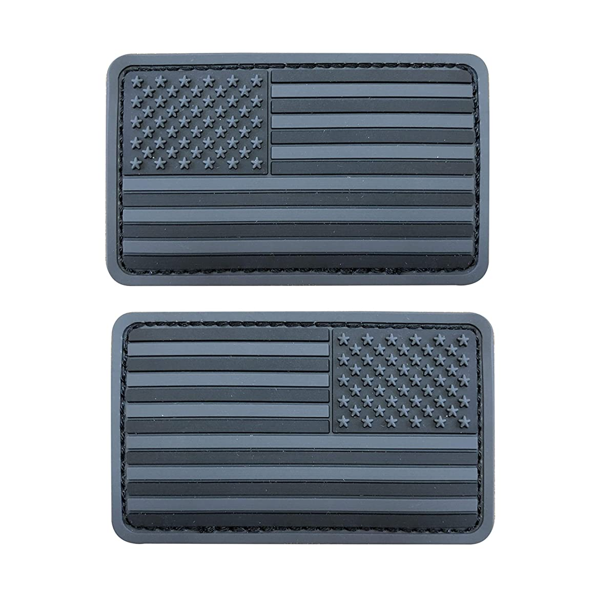 2x3.5 inch 3D PVC Rubber Black Grey US USA American Flag Patch Hook-Fastener Backing (Forward and Reversed)