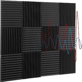 """پانل های فوم صوتی 12 """"x12"""" x1 """"12 Pack Wedge Studio Foam Tiles پانل های عایق صدا با تراکم بالا و ضد آتش برای دیوارها پانل های کاهش صدا صدا پانل های کاهش صدا (سیاه)"""