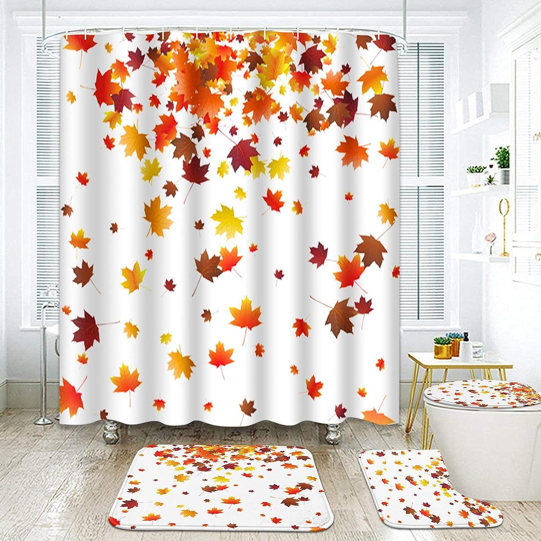 ArtSocket 4 Pcs Shower Curtain Set Maple N Falling Autumn Choice Leaves Choice