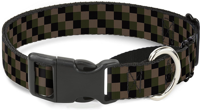 BuckleDown MGCW32982L Martingale Plastic Clip Collar, Checker Trio Tan Black Olive, 1 x1526