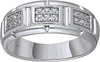10K White Gold 1/4cttw Men's Diamond Ring