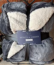 Queen Gray Velvet Sherpa Blanket Monte and Jardin Grey 98 by 92 inches Super Sized
