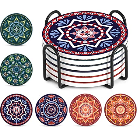 Set of 8 LIFVER Coasters for Drinks Absorbent with Holder 4 inch