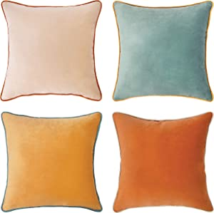 """MONDAY MOOSE Decorative Throw Pillow Covers Cushion Cases, Set of 4 (18"""" x 18"""") Soft Velvet Modern Double-Sided Designs, Mix and Match for Home Decor, Pillow Inserts Not Included (Orange/Teal)"""