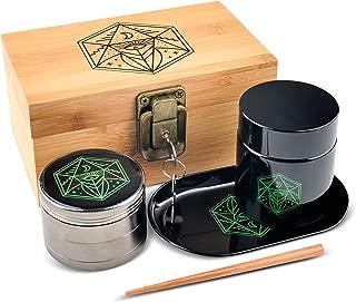 Vintage Stash Box Combo Kit - Ancient Symbol Design - Locking Wooden Bamboo Stash Box - Quality Grinder - Metal Rolling Tray - Smell Proof & UV Protecting Glass Jar