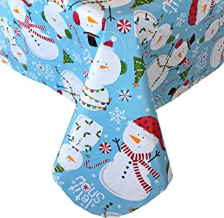 Newbridge Let It Snow Blue Snowman Christmas Print Vinyl Flannel Backed Tablecloth, Winter Snowmen Xmas Tablecloth, (52 Inch x 70 Inch Oblong/Rectangle)