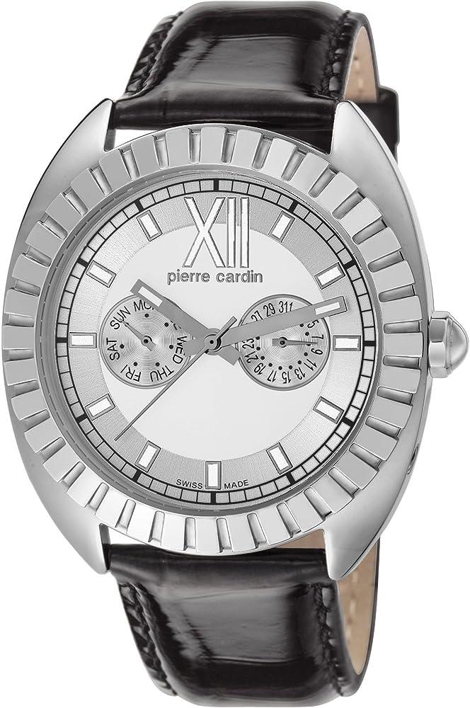 Pierre cardin orologio,cronografo da donna,swiss made,cinturino in pelle,cassa in acciaio inossidabile PC106042S02