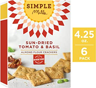 Simple Mills Almond Flour Crackers, Sundried Tomato & Basil, 4.25 Ounce (Pack of 6)