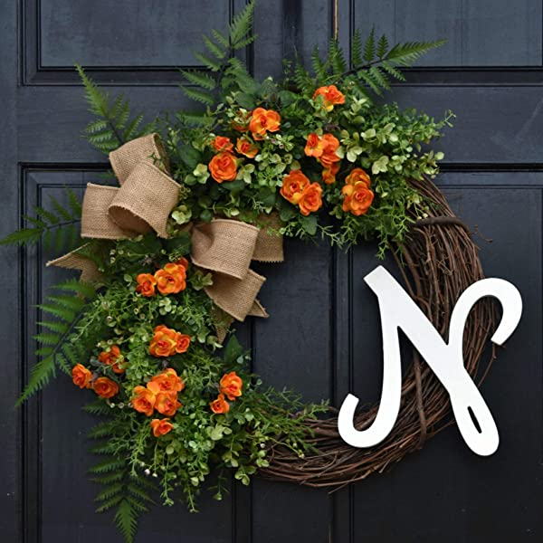 Orange Mini Rose Eucalyptus And Mixed Greenery Spring Summer Grapevine Wreath With Monogram Initial Option Ferns And Burlap Bow For Farmhouse Front Door Decor