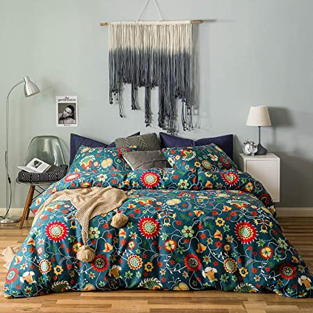 3D Colorful Luxuriant Flowers Bedding Set Argstar 2 Pcs Twin Floral Duvet Cover Black Comforter Cover with Flowers and Leaves 100/% Soft Microfiber 1 Duvet Cover and 1 Pillow Cover