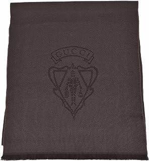 Gucci Men's 344993 Wool Hysteria Crest Logo Scarf Muffler (Dark Loden Brown)