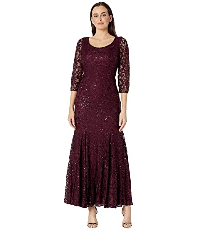 Alex Evenings Long Sequin Lace Fit-and-Flare Dress (Fig) Women