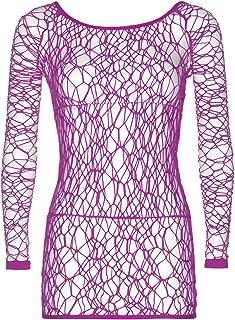 Leg Avenue Women's Web Fishnet Long Sleeved Mini Dress