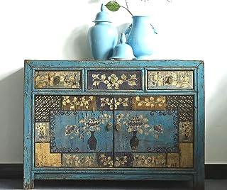 OPIUM OUTLET Aparador Comoda de Noche chifonier Chino para dormitorios Azul Antiguo Vintage Asiatico Shabby-Chic Madera