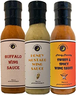 TOP SELLERS | Chicken Wing Sauce | Variety 3 Pack | Honey Mustard | Buffalo | Sweet & Spicy Wing Sauce | CRAFTED in Small Batches with Farm Fresh INGREDIENTS for Premium Flavor and Zest