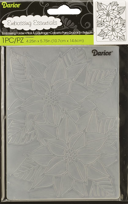 Darice Folder Mosaic Poinsettia Christmas Embossing